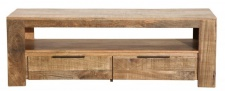 Casa Padrino Designer Fernsehschrank Natur B.130cm x H.45cm x T.45cm - Sideboard - Kommode - Handgefertigt aus Mango Massivholz!