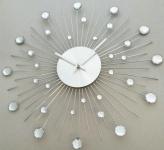 Casa Padrino Designer Wanduhr aus Edelstahl mit Bling Bling Steinen Silber D. 50 cm