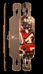 Fibretec Longboard Drop Through Deck S-Flex 1030 - V-lam Bambus Longboard Profi Deck - Medium Flex