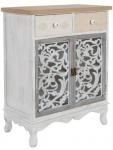Casa Padrino Landhausstil Kommode mit 2 Türen und 2 Schubladen Antik Weiß / Mehrfarbig 68 x 35 x H. 89 cm - Shabby Chic Möbel