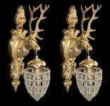 Casa Padrino Barock Wandleuchten Set Hirsch 1-Flammig Gold - Wandlampe Wand Beleuchtung