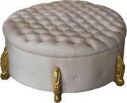 Casa Padrino riesiger Barock Rundhocker in Creme/Gold Durchmesser 107 cm - Luxus Hotel Möbel - Limited Edition