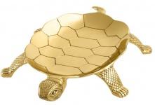 Casa Padrino Luxus Tablett Schildkröte Messing poliert Massiv 39 x 27.5 cm - Luxury Collection - 5 Sterne Gastronomie Einrichtung Goldfarben