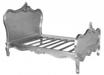 Barock Bett Maison Paris Silber 180 x 200 cm aus der Luxus Kollektion von Casa Padrino