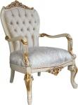 Casa Padrino Barock Luxus Salon Sessel mit Bling Bling Glitzersteinen Creme / Elfenbein / Gold - Luxus Hotel Möbel - Made in Italy