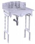 Casa Padrino Luxus Jugendstil Stand Waschtisch Weiß / Weiß mit Marmorplatte mit Spritzschutz hinten - Barock Waschbecken Barockstil Antik Stil