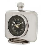 Casa Padrino Vintage Luxus Tischuhr Silberfarben Messing vernickelt - Edel & Prunkvoll - Tisch Uhr