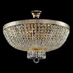 Casa Padrino Barock Kristall Decken Kronleuchter Weiß Gold 50 x H 37 cm Antik Stil - Möbel Lüster Leuchter Deckenleuchte Deckenlampe