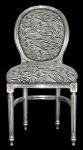 Barock Esszimmer Stuhl Zebra / Silber Rund