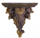 Casa Padrino Barock Wandkonsole Elefant Antik Gold 32, 3 x 16 x H.31, 5 - Hotel Möbel