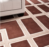 Wunderschöner Luxus Teppich aus 100% Neuseeland-Wolle mit Mäander Muster, Braun / Creme, Samtweich 300 x 400 cm - Hochwertige Qualität
