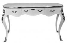 Casa Padrino Luxus Barock Sekretär Weiß / Silber 150 cm - Schreibtisch Luxus Möbel
