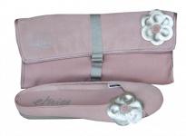 Etnies Skateboard Damen Ballerinas Pixie Rosa/Silber + Clutch Tasche Rosa/ Silber 1 B Ware