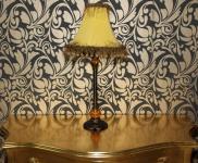Barock Hockerleuchte mit nostalgischem Schirm, Höhe 69 cm, Durchmesser 32 cm - Leuchte Lampe
