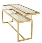Casa Padrino Luxus Glas Vitrine Edelstahl Gold B 160 x T 45 x H 77 cm Konsole Ladeneinrichtung - Art Deco Möbel