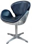 Casa Padrino Luxus Echtleder Bürostuhl Blau / Silber 72 x 63 x H. 91 cm - Designer Büromöbel