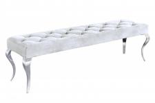 Casa Padrino Barock Sitzhocker Silber - Designer Sitzbank - Hocker - Barock Bank