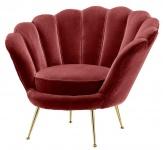 Casa Padrino Luxus Sessel Weinrot / Messing 96, 5 x 79 x H. 78 cm - Designer Hotel Möbel