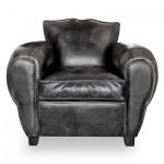 Art Deco Echtleder Sessel Buffalo Leder / Antik-Schwarz - Clubsessel - Lounge Sessel - Vintage