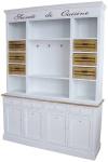 Casa Padrino Landhausstil Küchenschrank Antik Weiß / Naturfarben 160 x 43 x H. 218 cm - Landhausstil Küchenmöbel