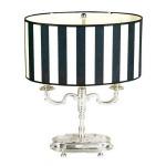Designer Barock Hockerleuchte Silber / Schwarz-Weiss Streifen Höhe 52 cm, Breite 40 cm Luxus Qualität - Leuchte Lampe