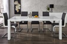 Moderner Design Esstisch Weiß Hochglanz - Ausziehbar 120-200 cm von Casa Padrino - Esszimmer Tisch