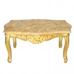 Casa Padrino Barock Couchtisch Gold mit Marmorplatte in Creme - Möbel Wohnzimmer Tisch Antik Stil