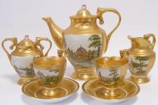 Casa Padrino Barock Kaffeeservice Gold / Mehrfarbig H. 19, 5 cm - Edles Porzellan Geschirr