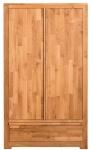 Casa Padrino Landhausstil Kleiderschrank Naturfarben 110 x 55 x H. 190 cm - Eichenholz Schlafzimmerschrank mit 2 Türen und Schublade
