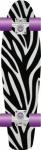 "Prohibition Oldschool Skateboard Plastic Cruiser 70s Style Zebra Plastik Skateboard 28"" Medium Size - Vinyl Skateboard Cruiser Longboard mit Koston Kugellagern"