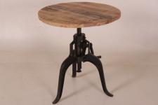 Casa Padrino Designer Industrial Design Beistelltisch Höhenverstellbar Teakholz / Metall - Durchmesser 75 cm - Vintage Design Tisch Rund