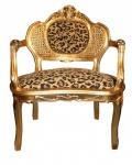 Casa Padrino Barock Sitzbank Tiger Muster/Gold Antik Stuhl Leopard / Gold