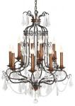 Casa Padrino Luxus Kronleuchter mit echten Glaskristallen - 12 Flammiger Lüster Höhe 100 cm, Durchmesser 90 cm - Messing Finish - feinste Qualität