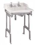 Casa Padrino Jugendstil Stand Waschtisch Weiß / Silber mit 2 Hahnlöchern - Barock Waschbecken Barockstil Antik Stil