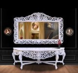 Riesige Casa Padrino Barock Spiegelkonsole Weiß mit weißer Marmorplatte - Luxus Wohnzimmer Möbel Konsole mit Spiegel