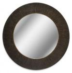 Casa Padrino Luxus Spiegel Schwarz / Bronze Ø 74 cm - Luxus Aluminium Wandspiegel