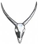 Casa Padrino Designer Antilope Deko Geweih aus poliertem Aluminium Silber H 75 cm, B 67 cm - Wandfigur - Geweih - Wandgeweih