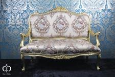 Casa Padrino Barock Sofa Creme Muster / Gold - italienischer Stil - Barock Möbel - Unikat!