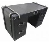 Casa Padrino Luxus Schreibtisch Schwarz Kroko-Optik 130 x 60 x H. 76 cm - Schreibtisch mit 5 Schubladen im Koffer Design