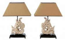 Casa Padrino Luxus Designer Hotel Tischleuchten 2er Set in antik grau - Wohnzimmer Tischlampen
