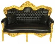 Casa Padrino Barock 2er Sofa Master Schwarz Lederoptik / Gold - Wohnzimmer Couch Möbel Lounge