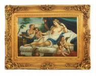 Handgemaltes Barock Öl Gemälde Engelsbildniss 7 Gold Prunk Rahmen 130 x 100 x 10 cm - Massives Material