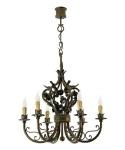 Casa Padrino Barock Schmiedeeisen Kronleuchter 6-Flammig Hängeleuchte Lüster Hängelampe Deckenlampe - Burg Schloss Leuchter