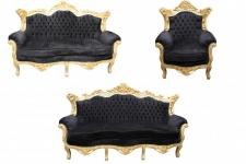 Casa Padrino Barock Wohnzimmer Set Schwarz/Gold - 3er Sofa+2er Sofa + 1 Sessel