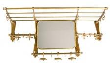 Französische Luxus Wandgarderobe mit Spiegel Messingfarben Edelstahl Garderoben Halter Mod Paris - Garderobe Antik Stil Barock Jugendstil Hotel, Cafe Restuarant Möbel