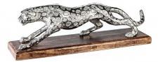Casa Padrino Luxus Panther Skulptur Antik Silber / Braun 51 x 13 x H. 17 cm - Elegante Aluminium Dekofigur mit Holzsockel