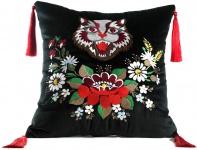 Casa Padrino Luxus Deko Kissen mit Troddeln Cat Schwarz / Mehrfarbig 45 x 45 cm - Feinster Samtstoff - Wohnzimmer Kissen