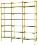 Casa Padrino Luxus Regal Schrank Edelstahl Gold mit Glasböden B 223 x H 245 cm Bücherregal Regal Schrank - Art Deco Möbel
