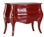 Casa Padrino Barock Kommode Rot / Holzfarben 91 cm - Schrank Möbel