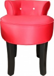 Casa Padrino Designer Hocker Boston Rot/Schwarz mit Bling Bling Steinen - Barock Schminktisch Stuhl